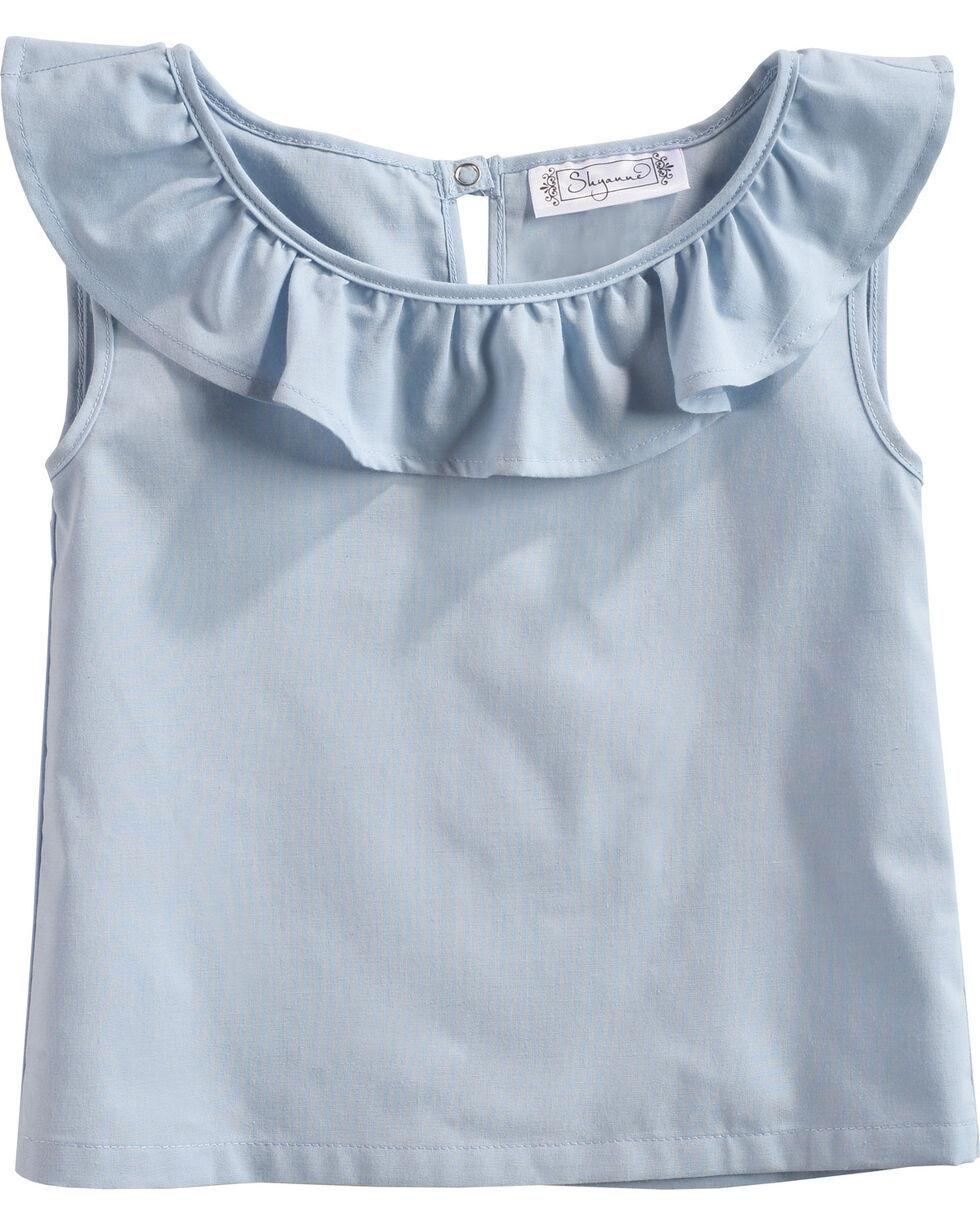 Shyanne Toddler Girls' Ruffle Neckline Sleeveless Top, Blue, hi-res