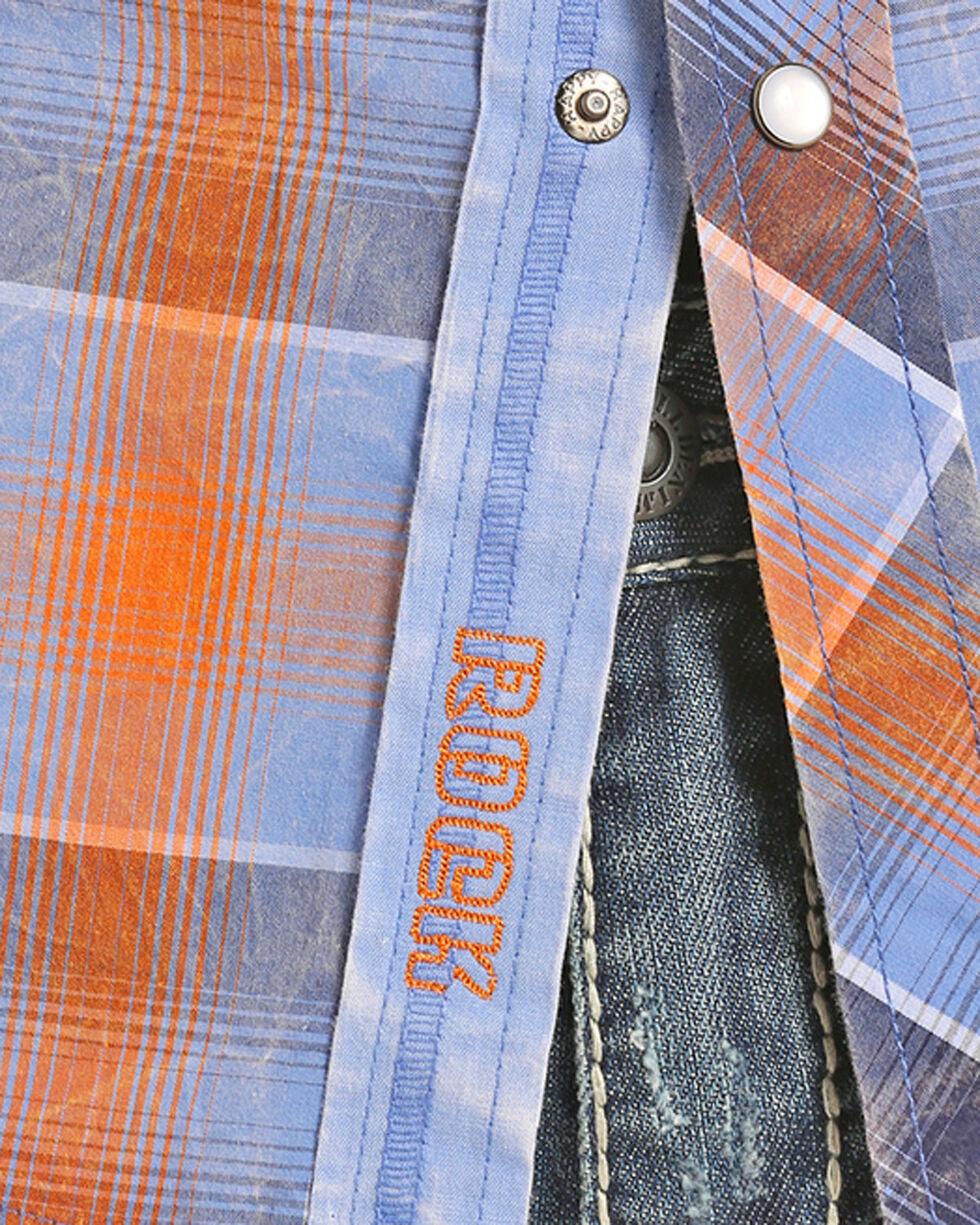 Rock & Roll Cowboy Men's Crinkle Washed Ombre Plaid Shirt , Blue, hi-res