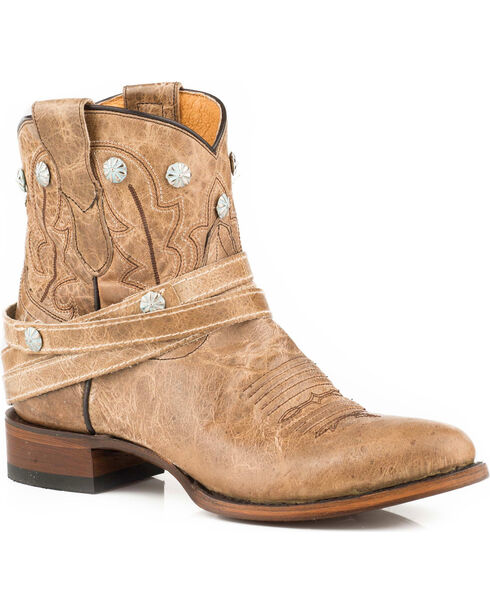 Roper Women's Wanda Stud & Belted Shorty Cowgirl Boots - Round Toe, Tan, hi-res