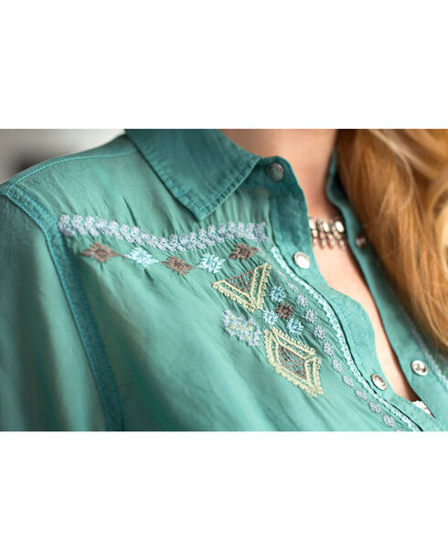 Ryan Michael Women's Embroidered Tunic, Lt Green, hi-res