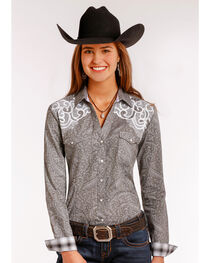 Rough Stock by Panhandle Women's Vintage Print Long Sleeve Snap Shirt, , hi-res