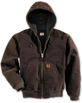 Carhartt Flannel Lined Sandstone Work Jacket, Dark Brown, hi-res