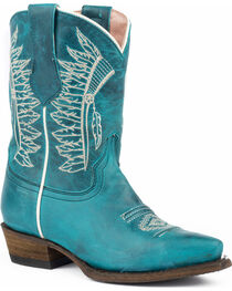 Roper Girls' Chiefs Burnished Blue Turquoise Native Embroidered Cowgirl Boots - Snip Toe, , hi-res