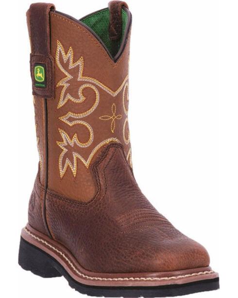 John Deere® Kid's Broad Square Toe Western Boots, Mesquite, hi-res