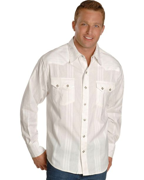 Scully Men's Tone-on-tone Dobby Striped Western Shirt, , hi-res