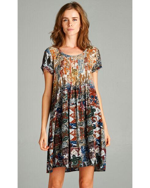 Hyku Women's Bleached Upper Body Pintuck Dress, Navy, hi-res