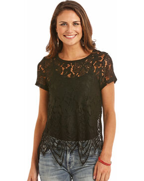 Rock & Roll Cowgirl Women's Black Allover Lace Top , Black, hi-res