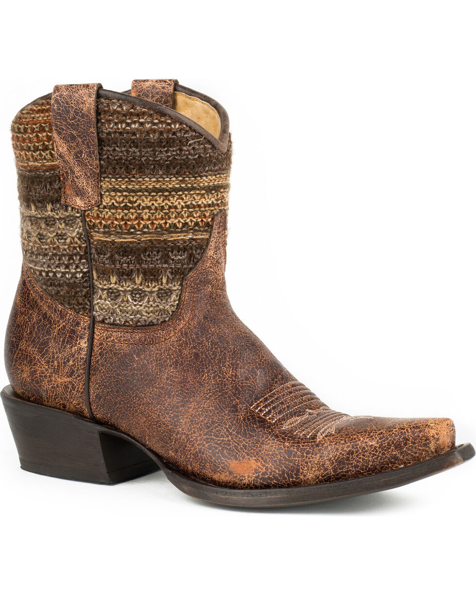Roper Women's Avril Shorty Vintage Stripe Western Boots, Brown, hi-res