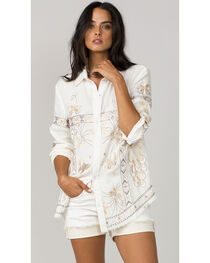 MM Vintage Women's White Embroidered Long Sleeve Shirt, , hi-res