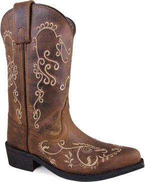 Smoky Mountain Girls' Brown Jolene Waxed Distressed Boots - Medium Toe , Brown, hi-res
