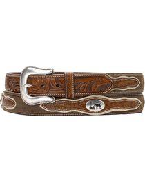 Nocona Cowboy Prayer Concho Tooled Billets Belt, , hi-res