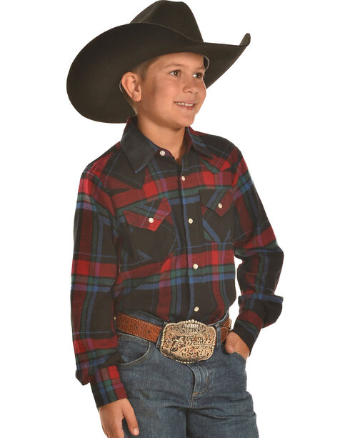 Ely Cattleman Boys' Black and Red Plaid Flannel Western Snap Shirt, Black, hi-res