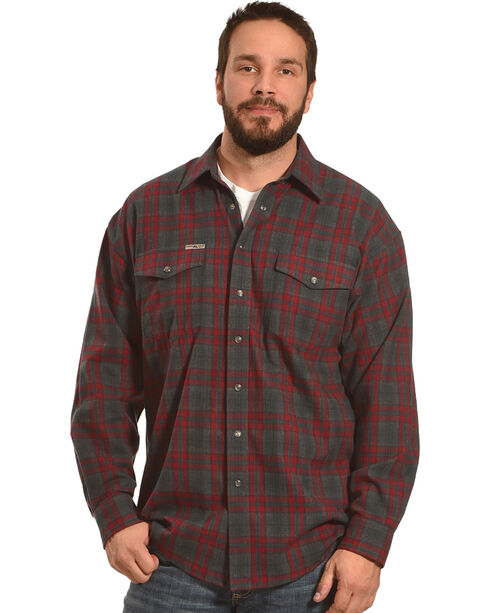 Powder River Outfitters Men's Red Plaid Snap Front Shirt , Red, hi-res