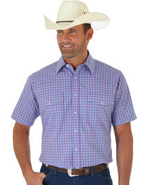 Wrangler Wrinkle Resist Men's Purple Plaid Short Sleeve Western Shirt , , hi-res