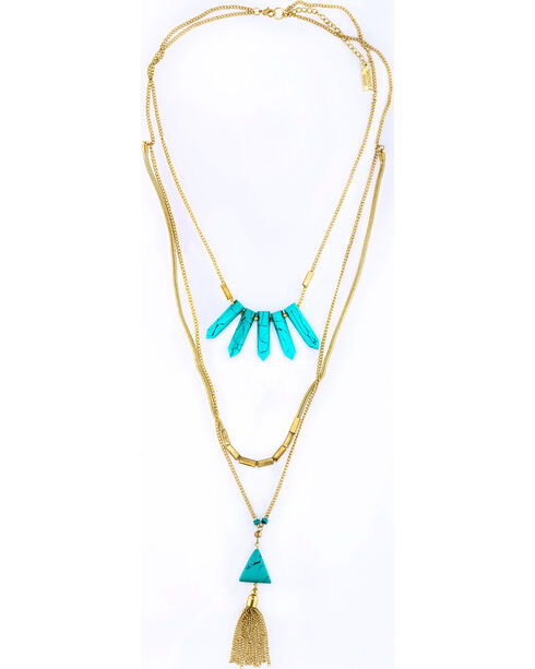 Sincerely Mary Women's Layered Turquoise Stone Necklace, Turquoise, hi-res