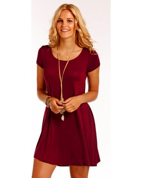 Panhandle Women's Red Cap Sleeve Dress , Wine, hi-res