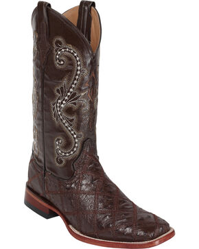 Ferrini Men's Ostrich Patch Exotic Western Boots, Chocolate, hi-res