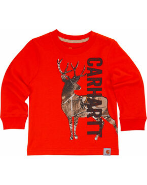 Carhartt Boys' Deer Camo Tee, Orange, hi-res