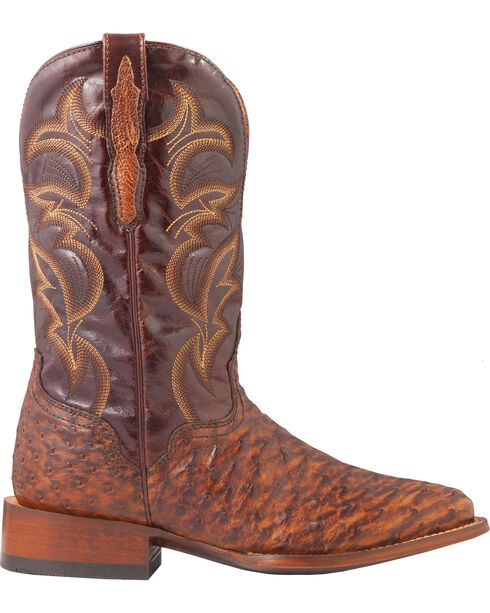El Dorado Men's Full Quill Ostrich Stockman Boots - Square Toe, Bronze, hi-res