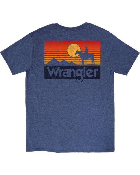 Wrangler Men's Heather Blue Sunset Horse Tee , Heather Blue, hi-res