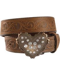 Heart Buckle Tooled Leather Belt - 18-28, , hi-res