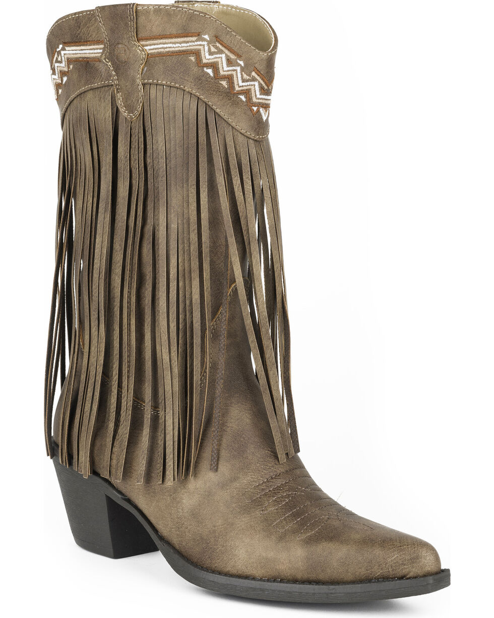 Roper Women's Brown Fringe Faux Leather Western Boots - Pointed Toe , Brown, hi-res
