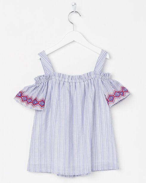 Miss Me Girl's Off the Shoulder Embroidered Top, Blue, hi-res