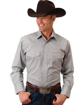 Roper Men's Grey Solid Broadcloth Long Sleeve Shirt , Grey, hi-res