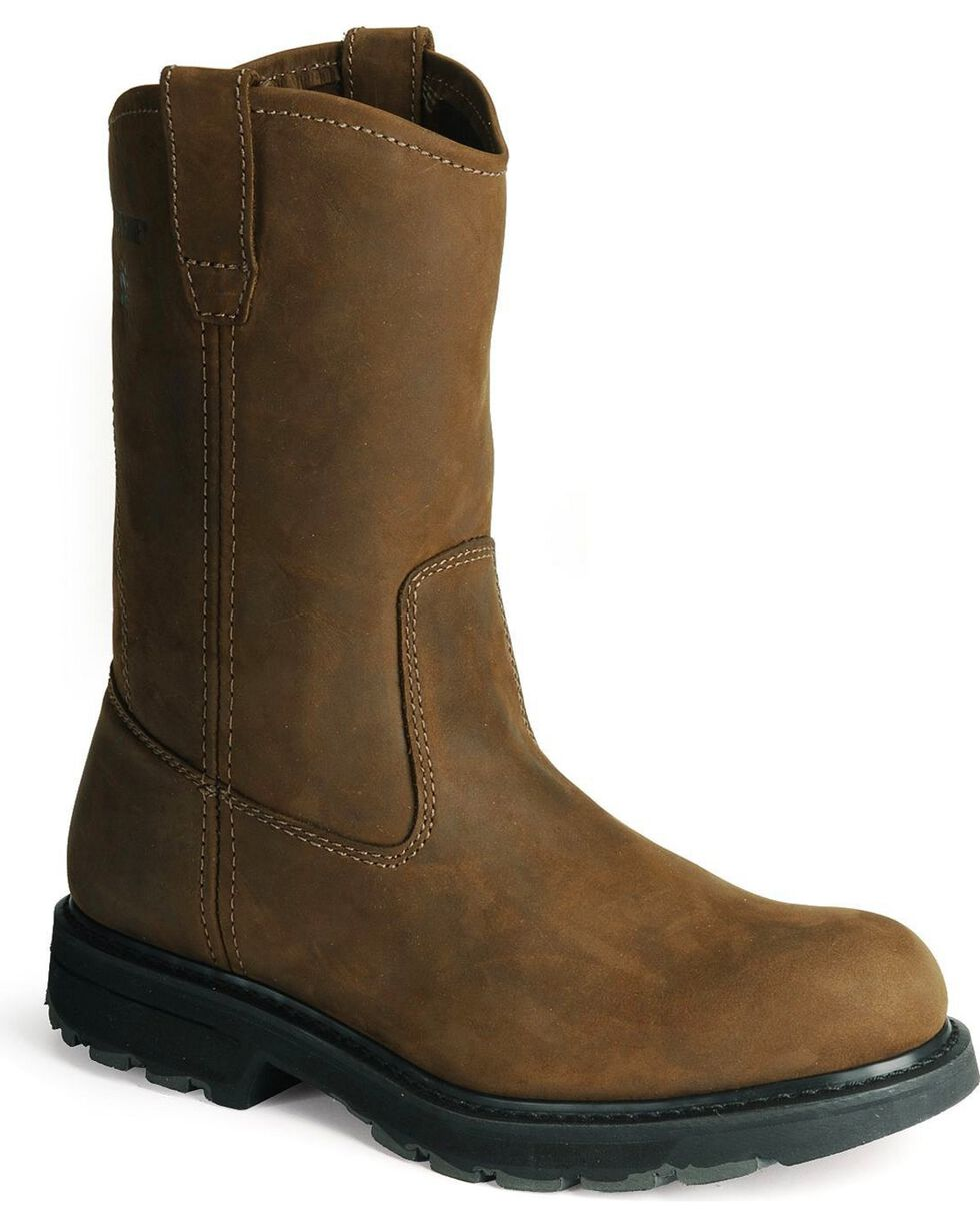 Wolverine Men's Plain Toe Slip Resistant Wellington Boots, Brown, hi-res