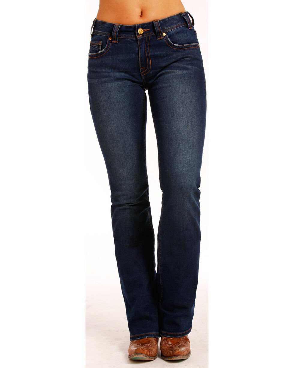 Rock & Roll Cowgirl Women's Dark Vintage Wash Boot Cut Jeans , Indigo, hi-res