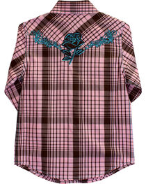 Cowgirl Hardware Girls' Faded Rose Embroidered Long Sleeve Plaid Shirt, , hi-res