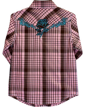 Cowgirl Hardware Girls' Faded Rose Embroidered Long Sleeve Plaid Shirt, Pink, hi-res