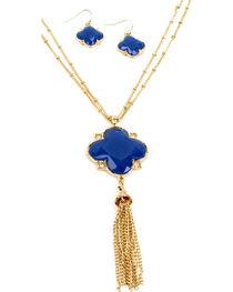 Ethel & Myrtle Blue Clover Tassel Jewelry Set, , hi-res