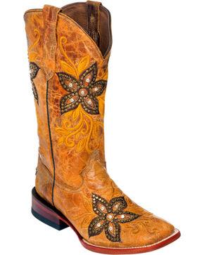 Ferrini Tan Star Power Cowgirl Boots - Square Toe, Tan, hi-res