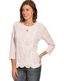New Direction Sport Women's White Lace Print Scalloped Top , , hi-res