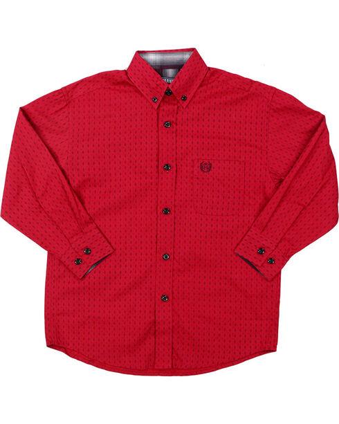Panhandle Select Boys' Diamond Pattern Long Sleeve Western Shirt, Burgundy, hi-res