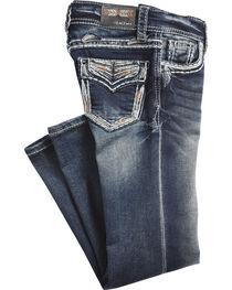 Grace in LA Girls' (4-6X) Indigo Gold Stitched Pocket Jeans - Boot Cut , , hi-res