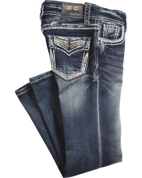 Grace in LA Girls' (4-6X) Gold Stitched Pocket Jeans - Boot Cut , Indigo, hi-res