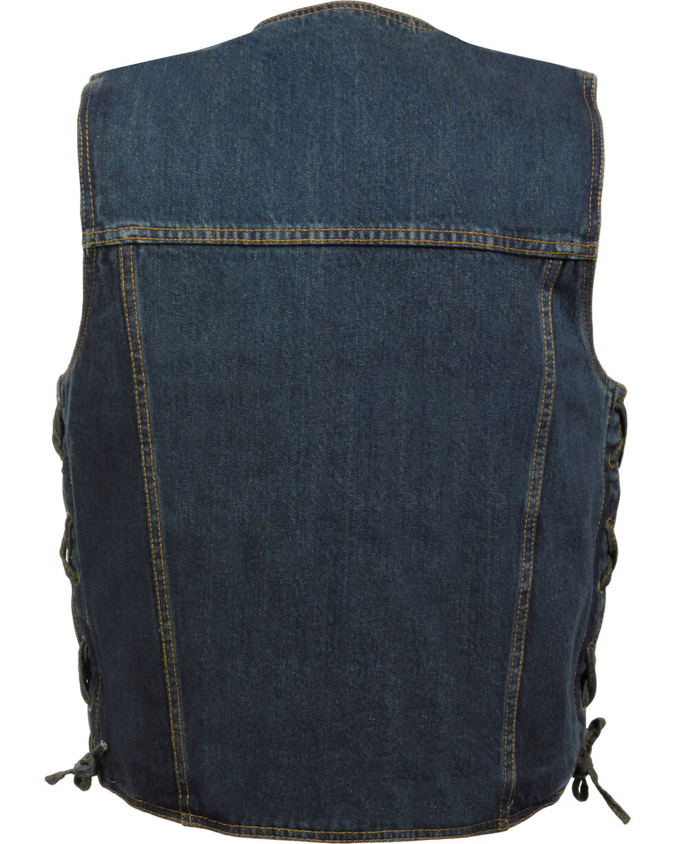 Milwaukee Leather Men's Side Lace Denim Vest w/ Chest Pockets - Big - 3X, , hi-res