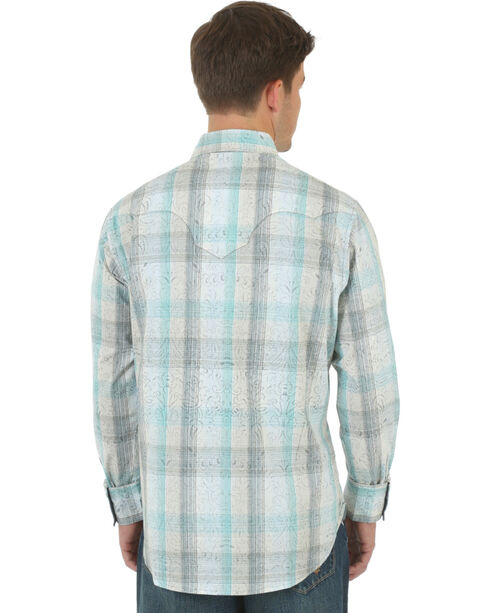 Wrangler Retro Men's Khaki Overprint Western Shirt , Khaki, hi-res