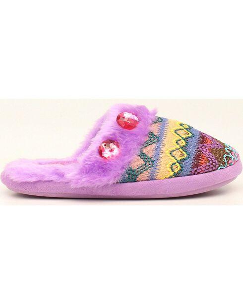 Blazin Roxx Girls' Colorful Woven Scuff Slippers, Purple, hi-res
