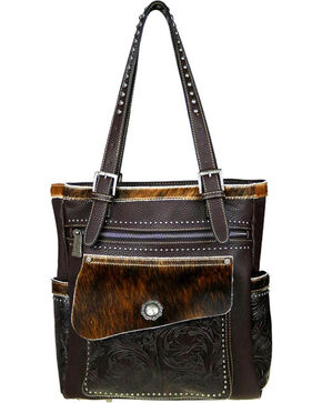 Trinity Ranch Women's Coffee Hair-On Concealed Carry Tote , Taupe, hi-res