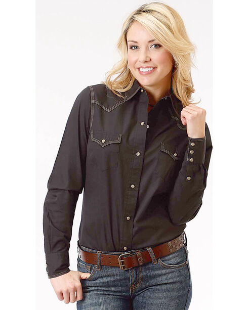 Roper Women's Black Long Sleeve Western Style Snap Shirt, Black, hi-res