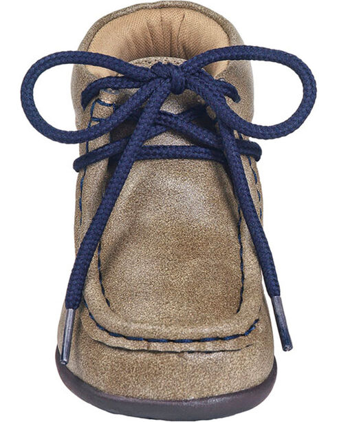 Double Barrel Toddler Boys' Smith Navy Lace Up Casual Shoes - Moc Toe, Brown, hi-res