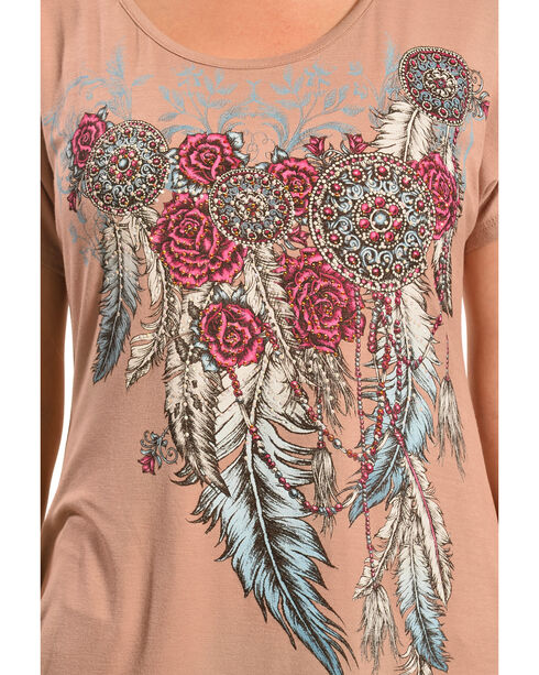 Liberty Wear Women's Mocha Concho and Feathers Top, Mocha, hi-res
