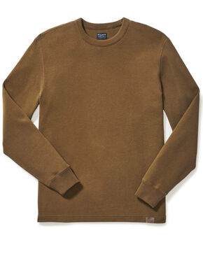 Filson Men's Olive Waffle Knit Thermal Crew-Neck Shirt, Olive, hi-res