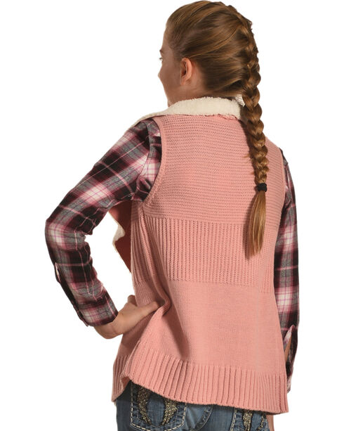 Derek Heart Girls' Pink Sherpa Collar Sweater Vest | Boot Barn