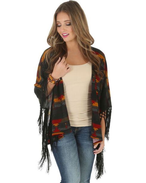 Wrangler Women's Aztec Sunset Open Poncho, Gold, hi-res