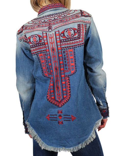 Drift Wood Women's Embroidered Heavy Weight Chambray Shirt, Light/pastel Blue, hi-res