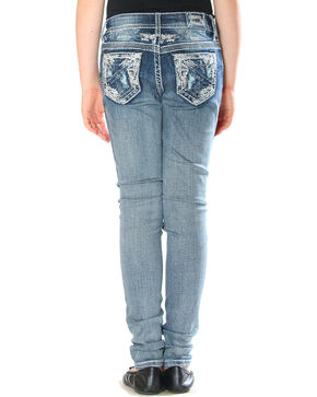 Grace in LA Girls' Indigo Distressed Pocket Jeans - Skinny , Indigo, hi-res